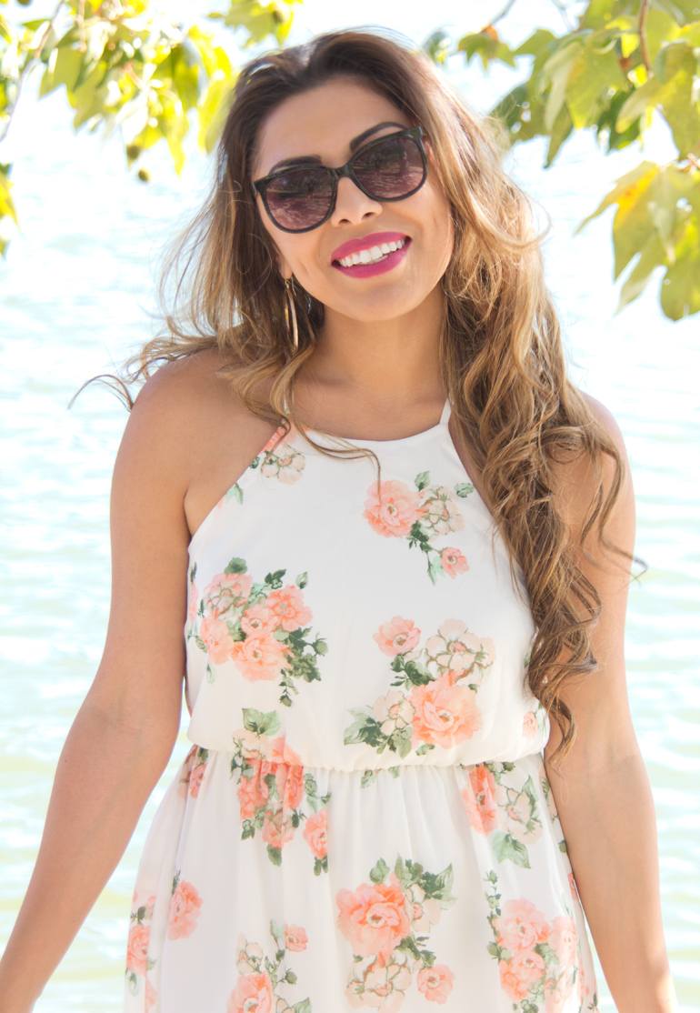 Alexis Alcala Smiles for the Camera After a Photoshoot for Her Blog While Wearing a Floral Summer Dress at Yorba Regional Park