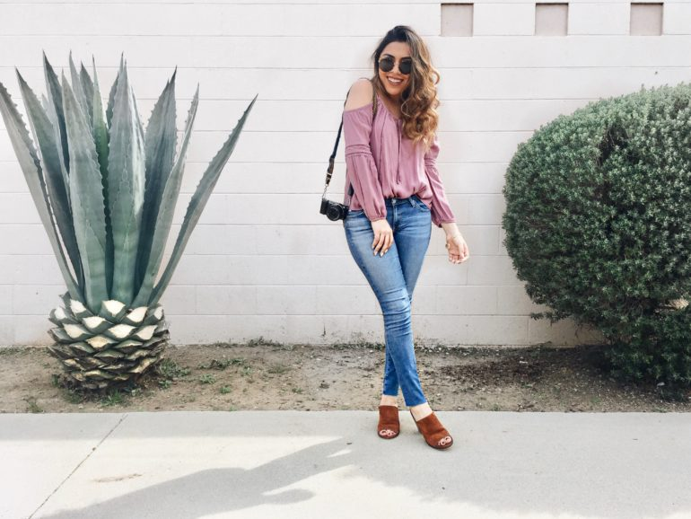 Alexis Alcala wearing AG denim, Steve Madden, and Nordstrom.