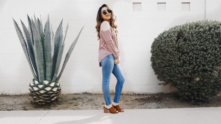 Alexis Alcala wearing AG denim, Steve Madden, and Nordstrom
