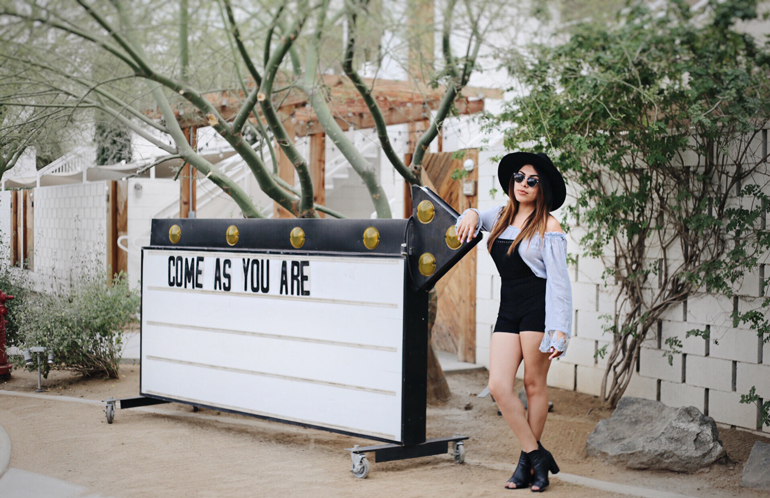alexis alcala in palm springs. wearing h&m and tobi at the ace hotel